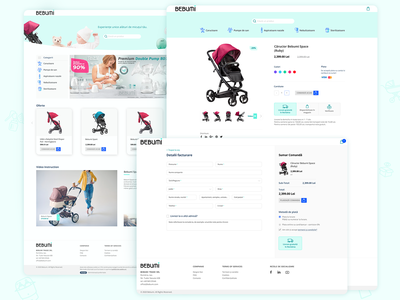 Bebumi Website web design website raster to vector icons design functional content clean design site design newborns baby strollers commerce site
