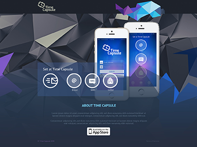 Time Capsule Website Design site presentation android phone triangular time capsule mobile app application website design