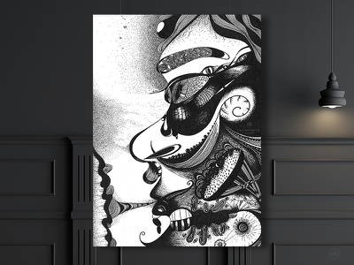 A character - black&white graphic with gel pen abstract character fantasy hobby free time gel pen dots in lines art graphic black and white
