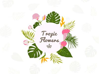'Tropic Flowers' Logo Design monstera flower logo logotype logo design flowers exotic tropic
