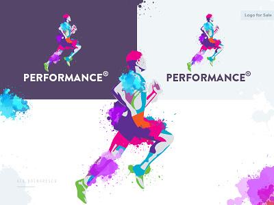 'Performance' Logo Design athletic silhouette creative sport sport logo logo for sale logotype inspiration logo design paint splash aquarelle colored paint performing performance perform