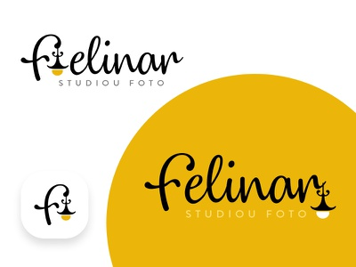 'Felinar - Studiou Foto' Logo Design logo with yellow and  black curly text photo light logo with lamp logo design photo studio vintage lamp lamp felinar