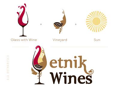 'Etnik Wines' Logo Design tradition wines export wines wines label wine logo design logo template etnik logo wines vineyard sun glass with wines wines