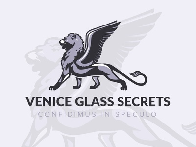 Logo Design 'Venice Glass Secrets' - Jewelry from Murano Glass logo inspiration lion with wings branding venetian lion logo design lion logo murano jewelry murano glass murano