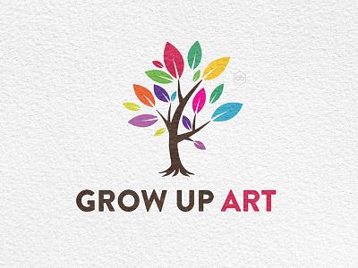 'Grow up Art' Logo Design grow up art art tree growing tree logo for sale tree logo template logo design colored leaves colored tree logo tree logo tree