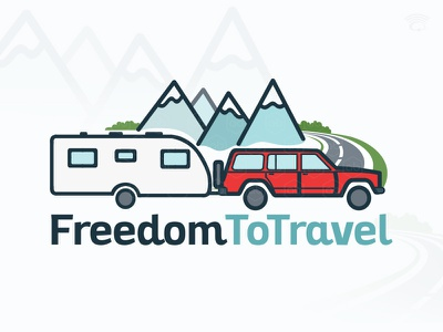 'FreedomToTravel' Logo Design camplify logo blue with red logotype design travel logo camping logo logo caravan towing car winding road mountains peaks icon caravan rv