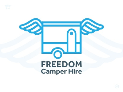 'FREEDOM Camper Hire' Logo design camper hire vector logo blue vector linear logo camper with wings wings travelling campervan logo design camp camping camper freedom