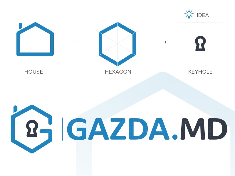 'GAZDA.MD' Logo Design home logo flat logo blue logo keyhole logo house hexagon rentapartments real estate logo inspiration logo design