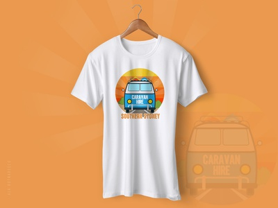 'SOUTHERN SYDNEY' Logo Design sunset blue and yellow beige camping life vector logo t-shirt design software mug design rounded logo vehicle logo caravan campervan hire a caravan camping design logotype designer logo design southern sudney