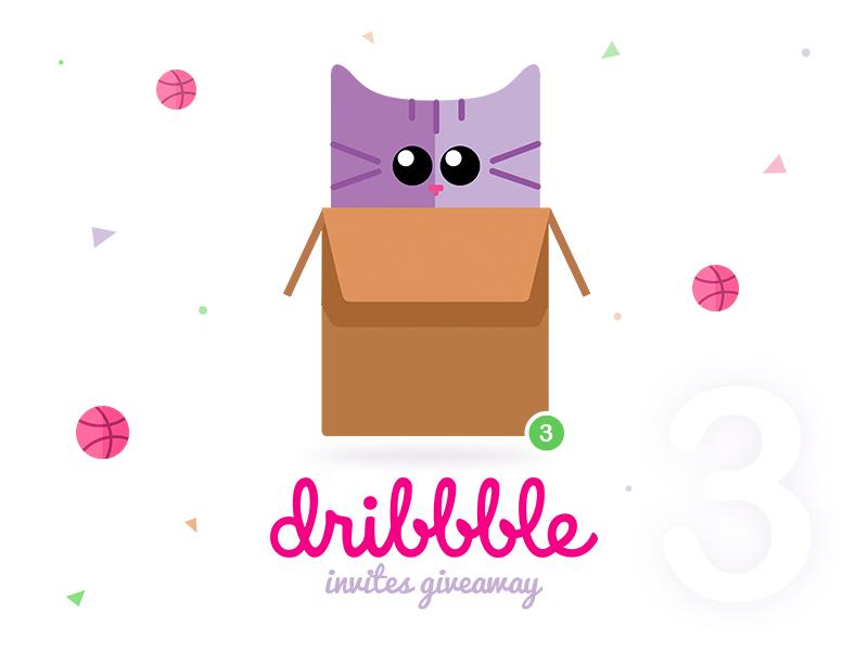 Hey friends! I have three Dribbble Invites Giveaway. dribbble invitation cute invitation best designers best portfolio cat dribbble invite giveaway dribbble invites dribbble invites