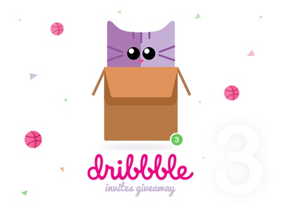 Hey friends! I have three Dribbble Invites Giveaway. dribbble invitation cute invitation best designers best portfolio cat dribbble invite giveaway dribbble invites dribbble invites