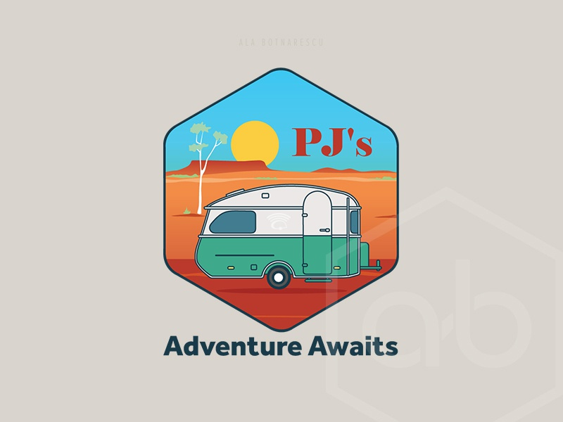 PJ' s Adventure Awaits - Logo Design graphic designer rv australia camplife hexagon logo hexagon travel caravanlogo caravan logotype logo design camping