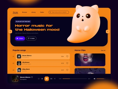 Horror playlist for the Halloween mood 3d website pumpkin spooky design ghost web ui ux player music halloween dribbleweeklywarmup