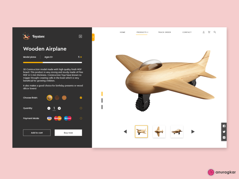 Toy Store Website- Concept Design airplane website design website webpagedesign web design vector uiux uidesign trending toy store toy sale product page minimal interaction design ecommerce app ecommerce design adobe xd 3d art