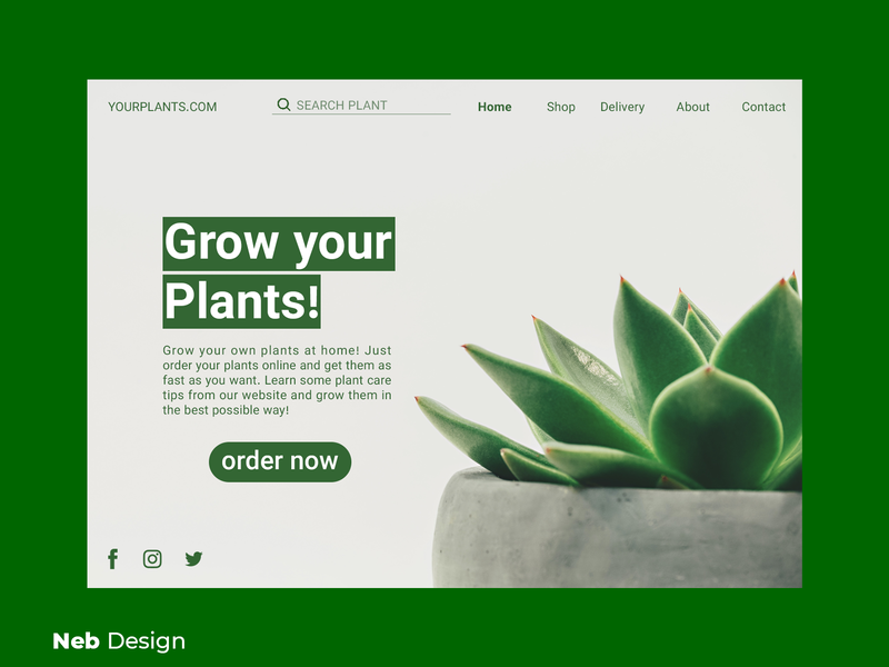 plant web design green nebula social media design green uidesign ui plant website graphic design web design neb design