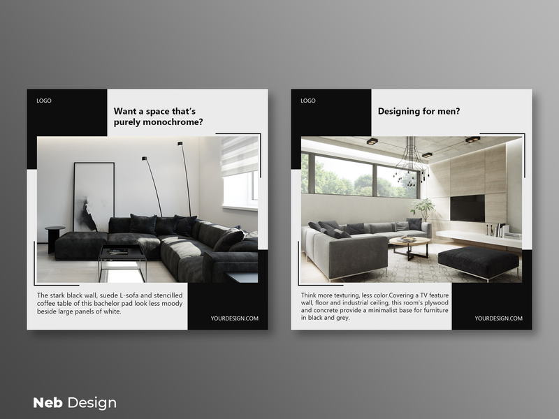 Modern living room instagram post design post design gray social media design social media instagram design instagram post design decoration web design neb design