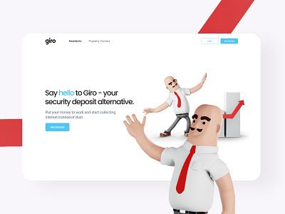Investing Website - Giro illustration graphic design clean web website minimal flat ux ui design