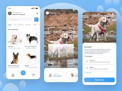 🐾 Pet Identifier App mobile scan pet identifier dog graphic design minimal flat app ux ui design
