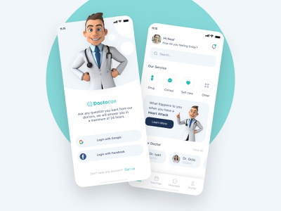 Medical Mobile App mobile graphic design minimal medical doctor flat design app ux ui