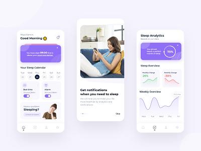 Sleep Tracking app concept analytics mobile reminder design concept ux ui challenge app sleep