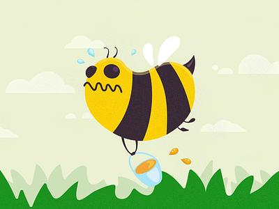 Crazy Bee flight illustration character bee