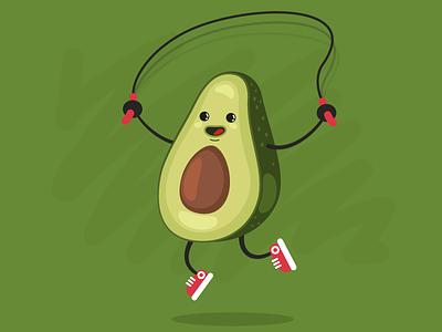 Avocado character funny jumping avocado