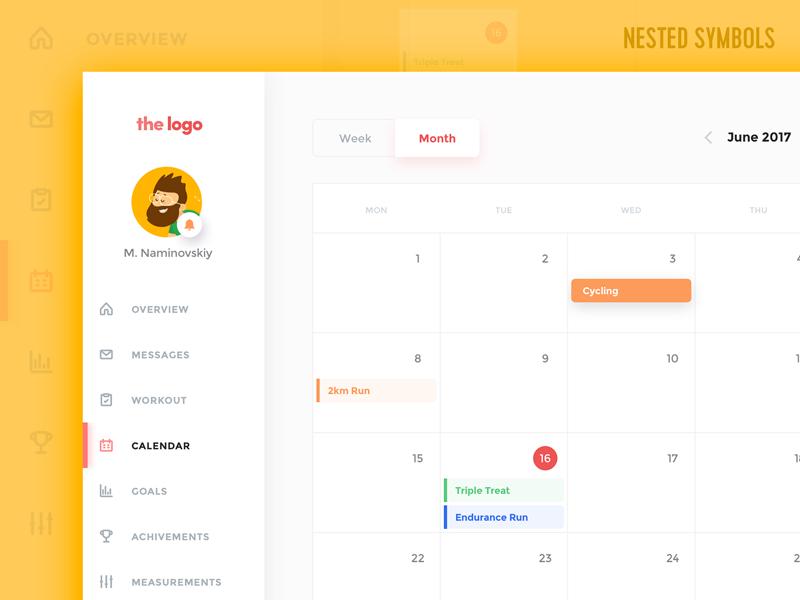 Fitness Calendar – Sketch Template Freebie freebie free template nested symbols sketchapp