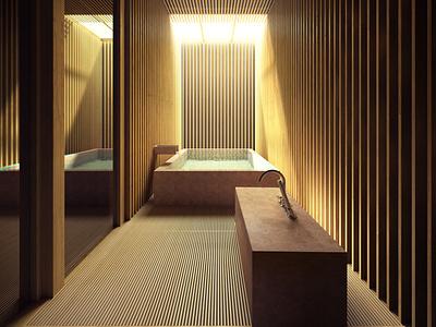 Perspective 3D de salle de bain en bois