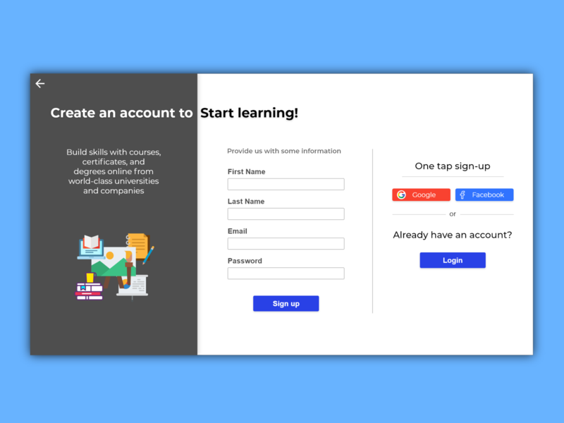 Sign-up Page daily ui 001 daily ui challenge adobe xd challenge dailyui daily 100 challenge web ux ui design