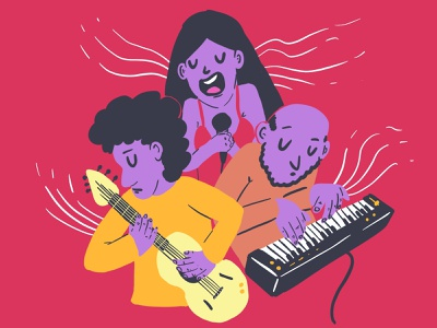 January 2020 guitar synthesizer sing song music playlist illustration