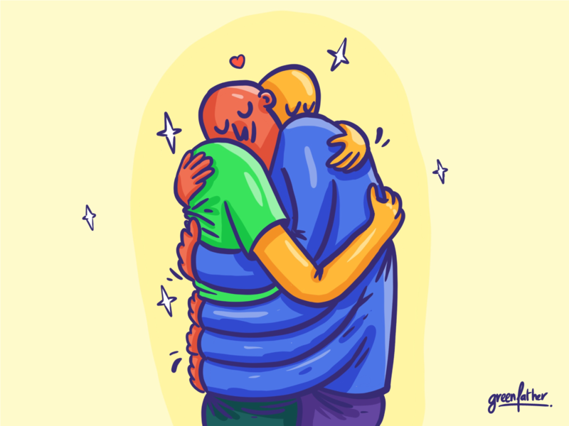 1000 hugs procreate love covid hug illustraton
