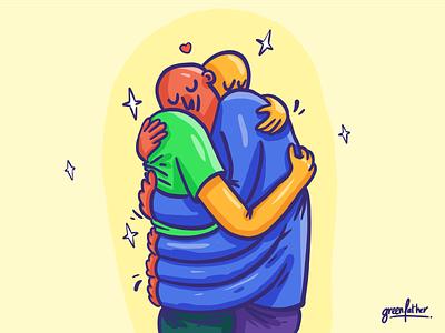 1000 hugs procreate love covid hug illustraton