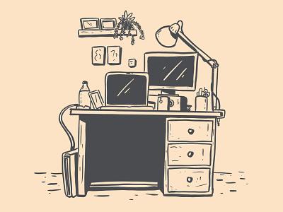 My desk homeoffice homework work illustration desk