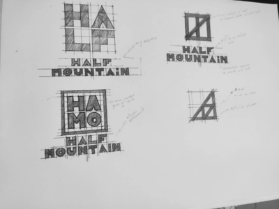 HALF MOUNTAIN draw bocetos sketches branding brand logo