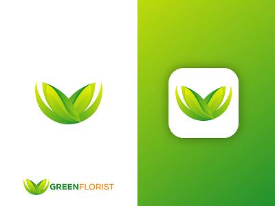 Green Florist logo art logo designer logo business 3d logo colorful logo illustration brand identity gradient logo app logo abstract logo floral logo green logo graphic design ui modern logo branding logo logo design