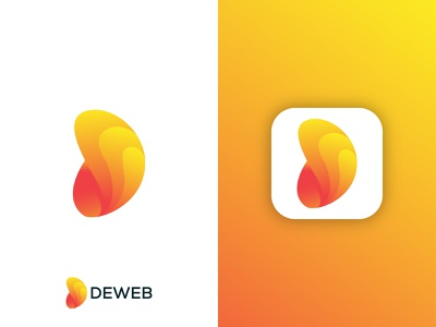 Deweb logo letterlogo weblogo brand logos typogaphy vector gradient graphic colorful software logo app logo abstract logo modern logo d letter logo d logo illustration brand identity logo design logo