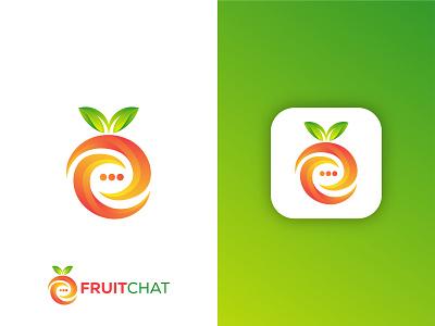 Fruit chat logo branding leaf logo abstract logo illustration gradient logo colorful logo app logo healthy fruit chat logo fruit logo vector modern logo brand identity graphic design logo design logo