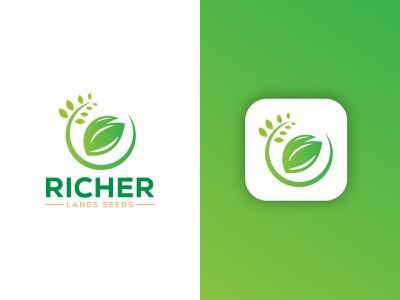 Richer Land Seed Logo logo business graphic design abstract logo leaf logo minimalist logo application logo farming logo agriculture logo seed logo nature logo vector illustration colorful logo gradient logo app logo modern logo brand identity branding logo design logo