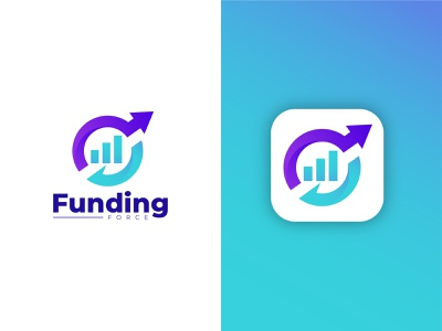 Funding Force Logo mobile app logo business growth logo aero logo minimalist logo flat logo abstract logo software logo funding logo financial logo illustration gradient logo ui modern logo app logo brand identity branding logo design logo