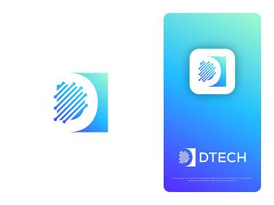 D Tech Logo company logo logos colorful logo gradient flat logo graphic design technology tech d letter ui vector design illustration app logo modern logo brand identity branding logo logo design
