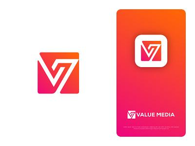 Value Media Group 3d brand identity graphic design icon flat paly logo colorful logo lettermark v logo media logo ui vector design app logo illustration modern logo branding logo design logo