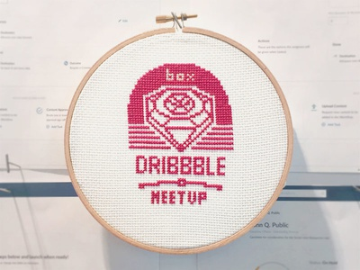 A Cross-Stitched Announcement: Box Dribbble Meetup! meetup logo cross stitch cross-stitch shopkick wealthfront box event dribbble meetup