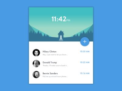 Inbox Widget ui minimal messages material inbox concept card cabin