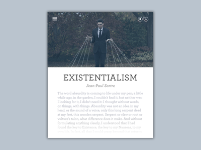Daily UI #35 - Blog Post blog post existentialism sartre widget card minimalist typography hierarchy puppet text