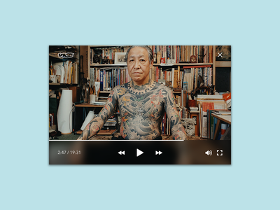 Daily UI #57 - Video Player japanese hover blue screen play vice tattoo dailyui player video