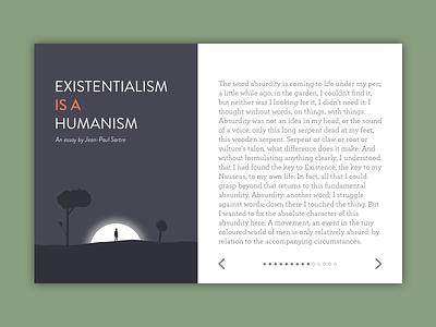 reading ui concept modal illustration existentialism text essay blog ereader