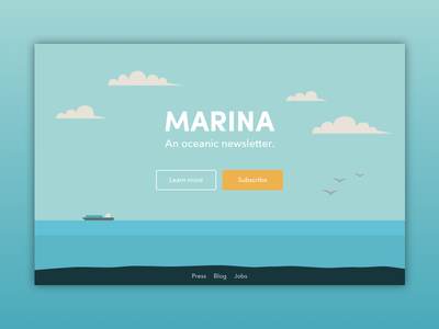 Daily UI #26 - Subscribe marina illustration blue ocean dailyui subscribe newsletter