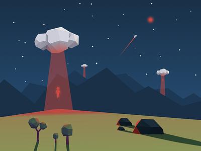 strange clouds spaceship orange rocks trees mountains abduction organic ufo aliens night low poly clouds