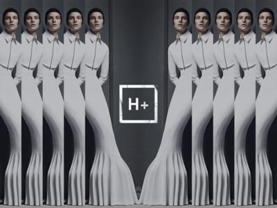 H+ icon logo box white fashion repetition transhumanism humanism h