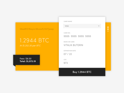 DailyUI 002 daily ui minimalist address wallet form popup widget gold btc checkout credit card bitcoin